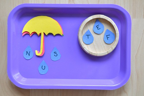 Umbrella raindrops spelling