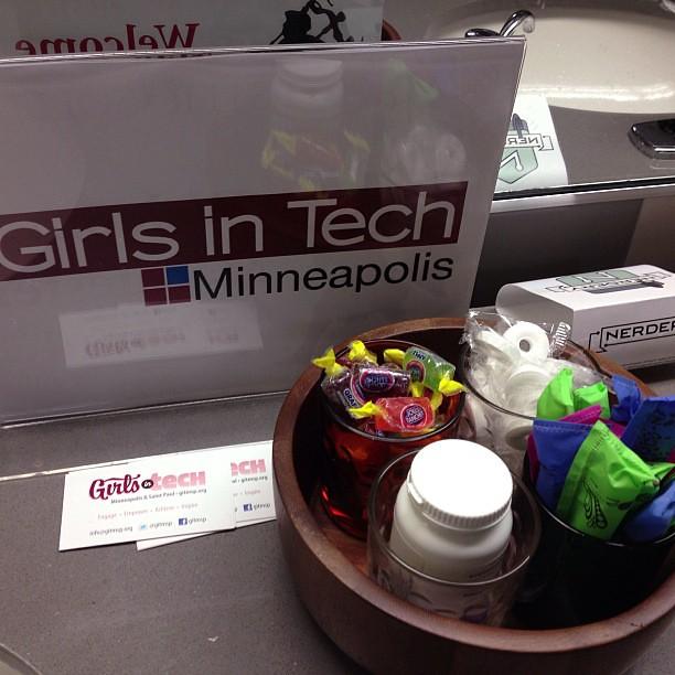 Goodies in the ladies' room. - thanks, @GiTMSP :) #minnebar