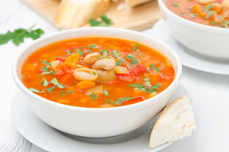 tomato soup with vegetables and beans