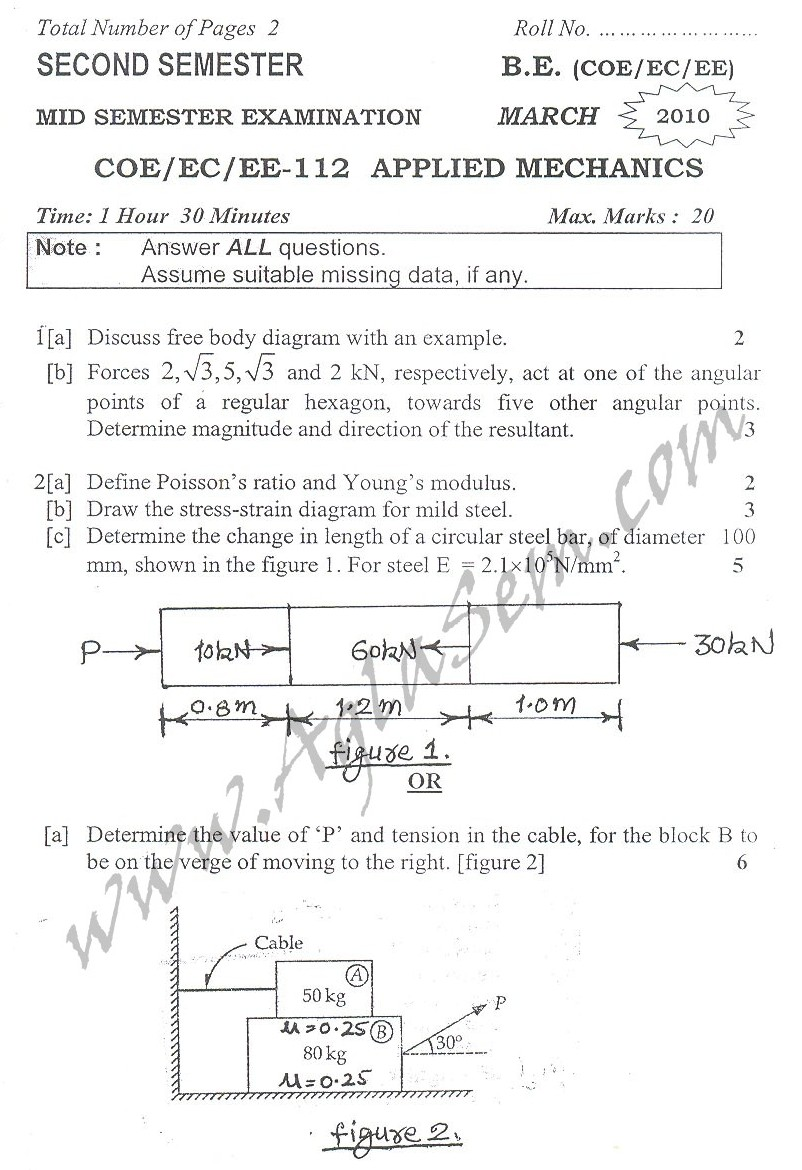 DTU Question Papers 2010 – 2 Semester - Mid Sem - COE-EC-EE-112