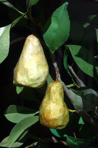 paper mache pears with paper foliage
