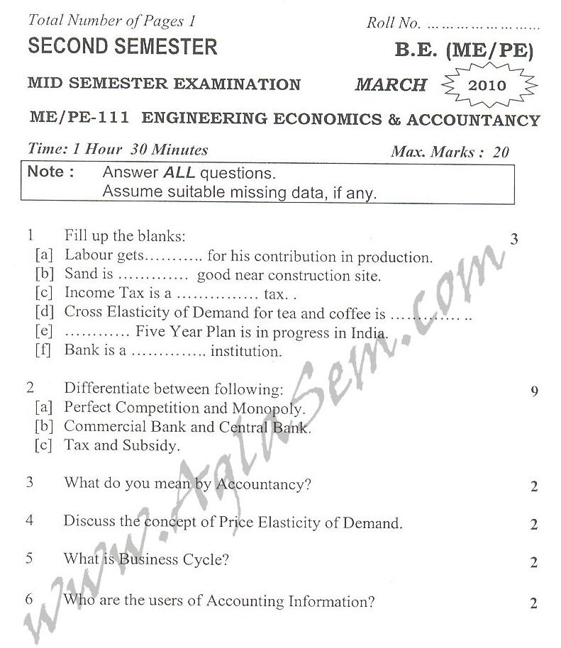 DTU Question Papers 2010 – 2 Semester - Mid Sem - ME/PE-111