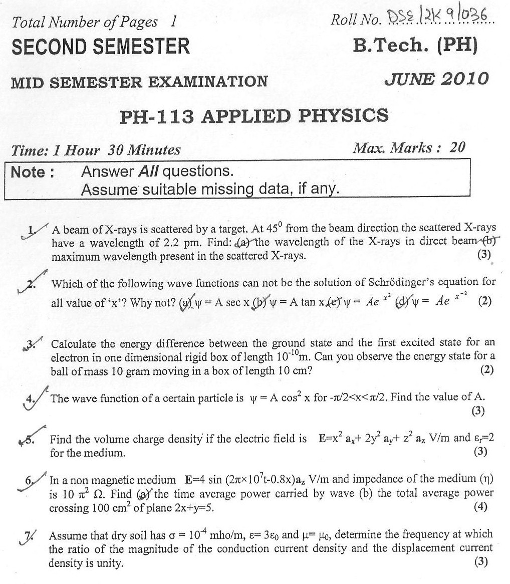 DTU Question Papers 2010 – 2 Semester - Mid Sem - PH-113