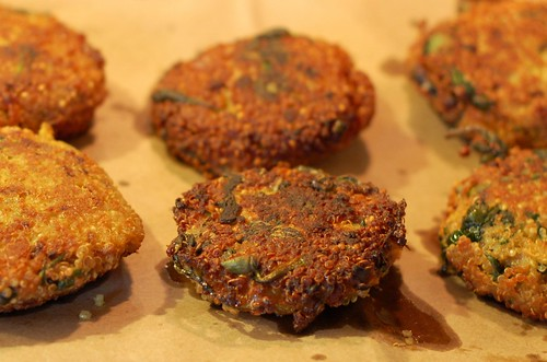 Curried quinoa cakes post-frying by Eve Fox, Garden of Eating blog, copyright 2013