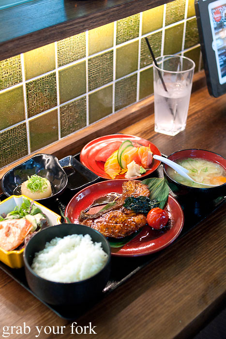 teriyaki salmon lunch set at yebisu izakaya, regent place sydney