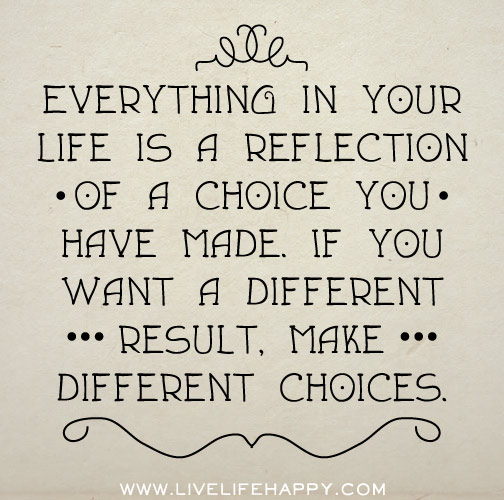 Everything In Your Life Is A Reflection Of A Choice You Have Made. If You