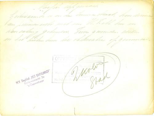 Achterkant van foto werk opa van der Kroft