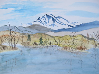 watercolor of Longs Peak