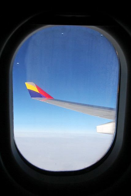 Blue sky and wing view from the window of Airplane 飛行機の窓から見た青空と翼