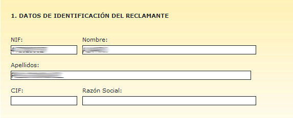 DATOS DE IDENTIFICACIÓN DEL RECLAMANTE