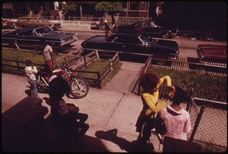 Black Neighbors Outside On Chicago's West Side. They Are Part Of The Nearly 1.2 Million People Of Their Race Who Make Up More Than One Third Of Chicago's Population, 06/1973