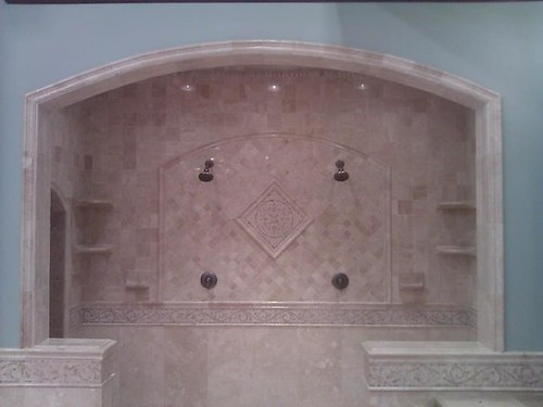 Travertine tile and border accents