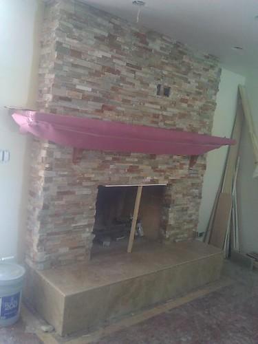 Travertine & Natural stone fireplace