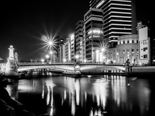 bridge light bw reflection building japan architecture night river lumix landscapes osaka nightview gf2