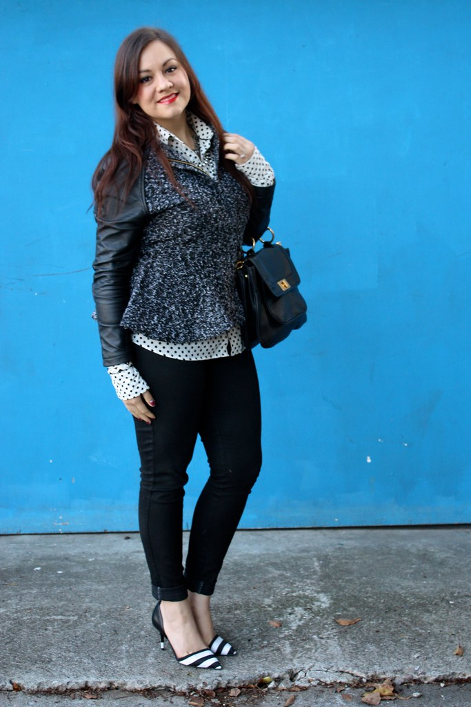SF Bay Area Fashion & Style Blog - Black & white, polka dot shirt, zara striped heels, tweed & leatherette peplum jacket, rebecca minkoff covet bag, mabelline super stay 10 stain gloss in cool coral - 2013 outfit