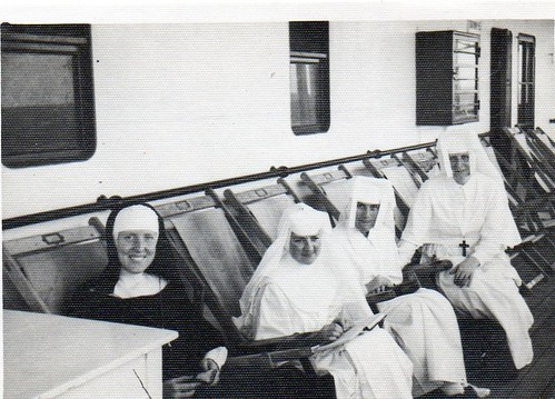 "September 1947. Aboard the M.V. ""Accra"" en route to Kumasi, Ghana, Anglican Sister (left) with Joseph Mary Connolly SSL and Bríd Mulhern SSL. The first mission in Africa was founded in Ghana in 1947"
