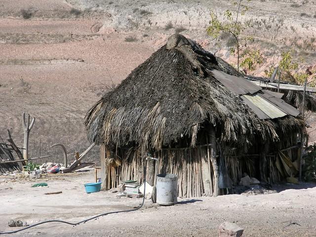Thatched hut - Choza; Magdalena Jaltepec, Distrito de Nochixtlán, Región Mixteca, Oaxaca, Mexico