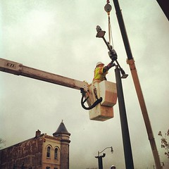 Doing streetcar pole work on H/Benning