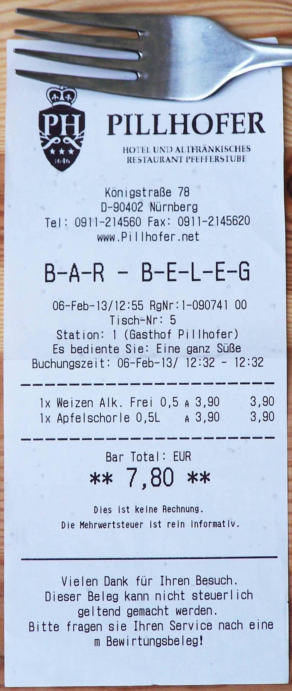 Bar-Beleg Gasthof Pillhofer, Nürnberg
