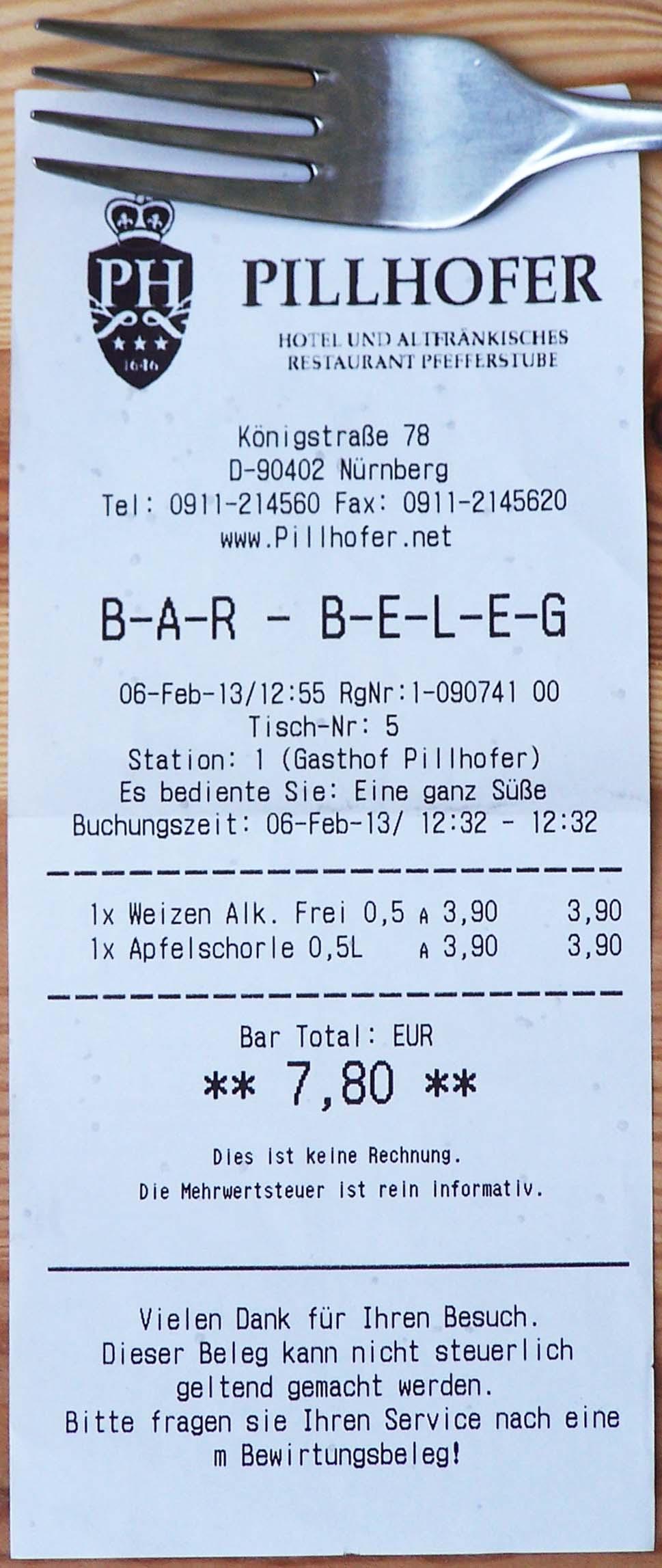 Bar-Beleg Gasthof Pillhofer, Nürnberg