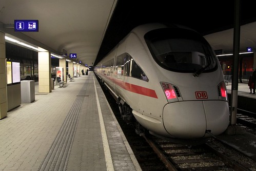 Deutsche Bahn ICE 3 train awaiting departure time back to Germany