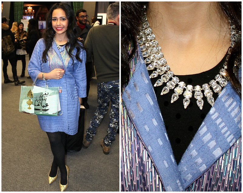 nyfw, metallic blue coat, crystal necklace