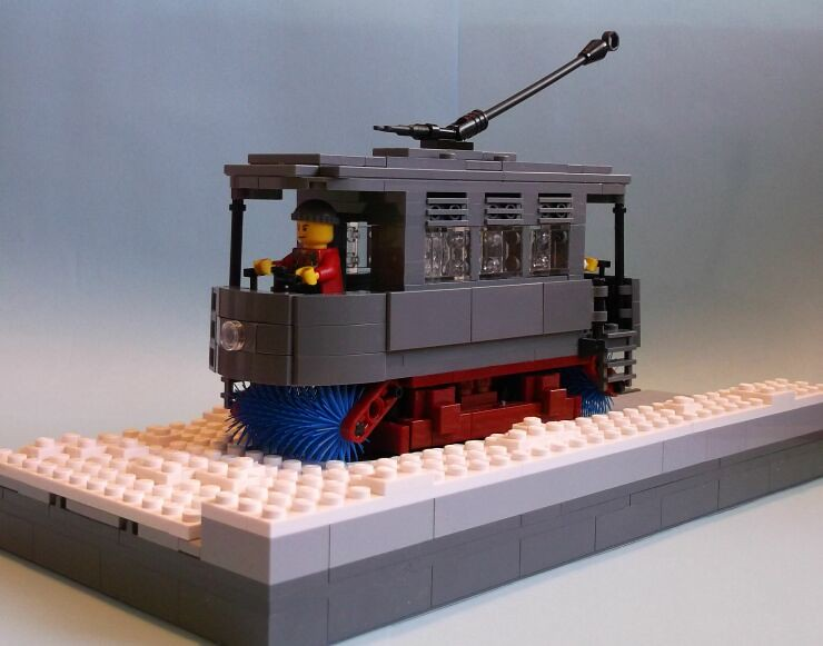Overall view of a LEGO® model of a snowbroom tram