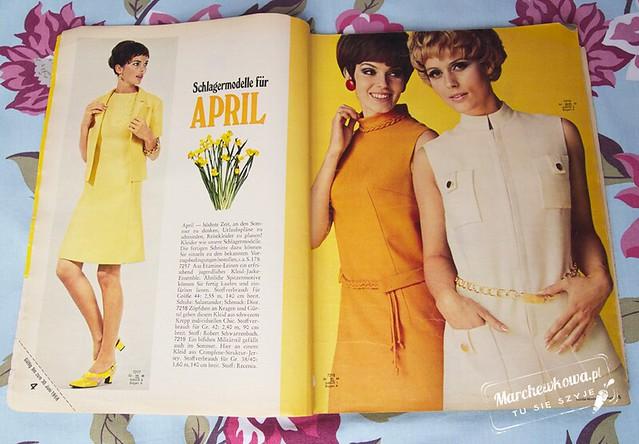 marchewkowa, blog, moda, fashion, Burda 4/1968, szycie, krawiectwo, sewing, retro, vintage, wykroje, modele, stare wydanie, 60s