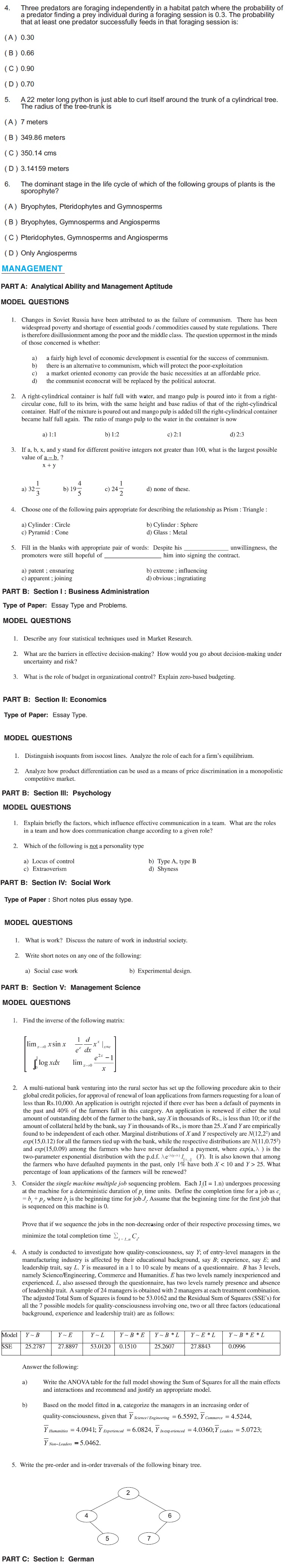 IISc Admissions 2013 Model Question Paper - Research Program (Ph D/MSc Engg)