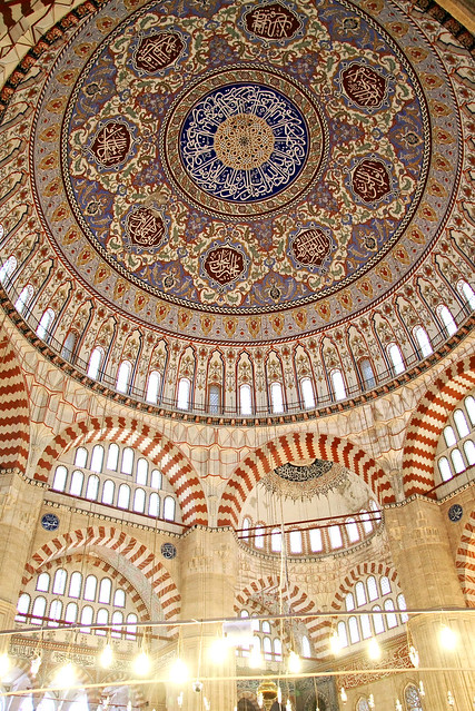 Beautiful composition of Selimiye Mosque, Edirne, Turkey エディルネ、セリミエ・モスクのドーム装飾