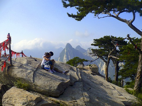 china mountain yellow couple chinese romantic huashan