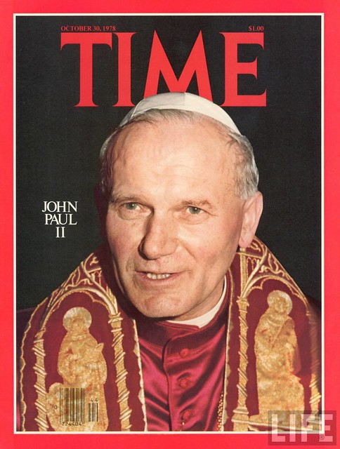 TIME cover 10-30-1978 of Pope John Paul II, from Osservatore Romano.