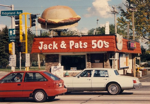 Jack & Pat's 50's Drive In. (Gone-Demolished)  Chicago Ridge Illinois.  October 1989. by Eddie from Chicago