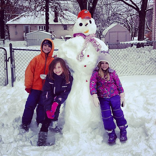 #Astros Snowman, Snose Altuva, with Beckham, Sadie Piper and Gwen.