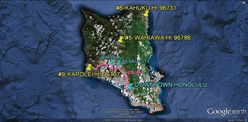 3 of the 10 most diverse neighborhoods are on the Island of Oahu (via Google Earth)