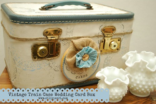 Vintage Train Case Wedding Card Box -The Silly Pearl