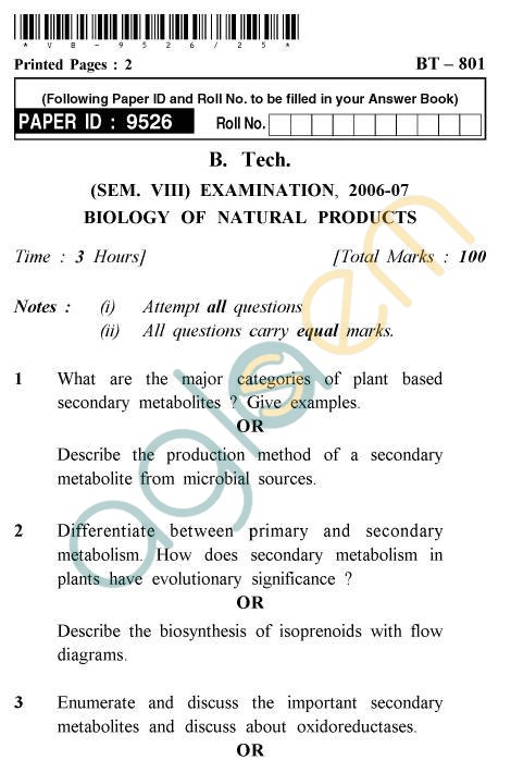 UPTU B.Tech Question Papers - BT-801 - Biology of Natural Products