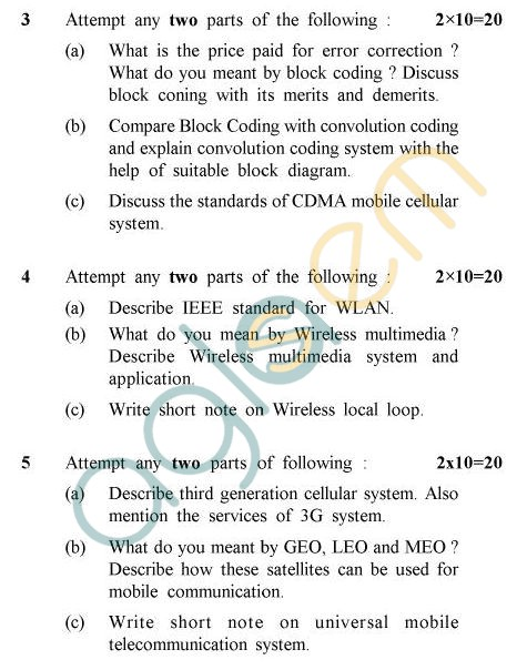 UPTU B.Tech Question Papers - EC-031 - Wireless Communication