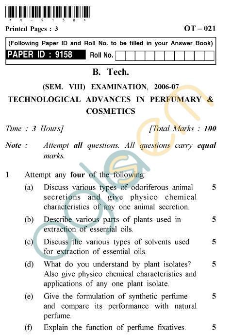 UPTU B.Tech Question Papers -OT-021 - Technology Advances In Perfumery & Cosmetics
