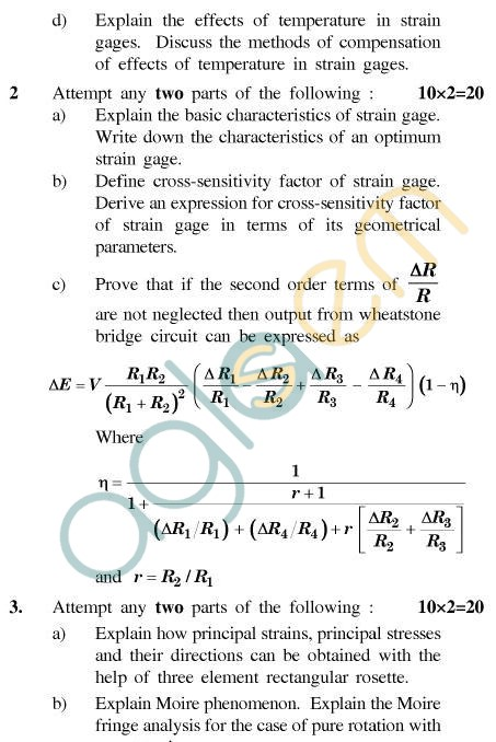 UPTU B.Tech Question Papers - ME-031 - Experimental Stress Analysis