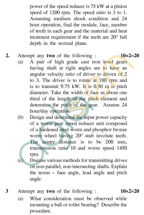 UPTU: B.Tech Question Papers - ME-603 - Machine Design-II