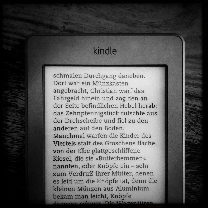kindle touch, text w left align