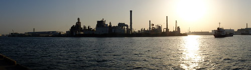 Kawasaki Factory Sunset Scene panorama