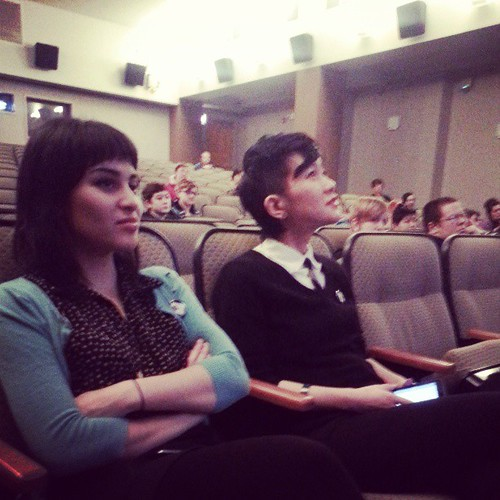 Suzy X. and @inzombia Mimi Thi Nguyen listen to @shotgunseamstress present at #czf2013 #poczines