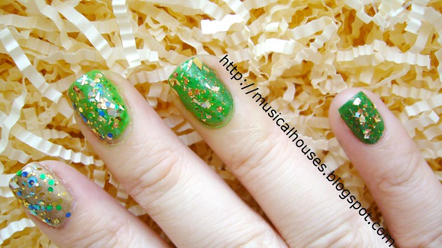 st patricks day nail art glitter gradient 2