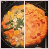 Skillet chicken pot pie, before and after