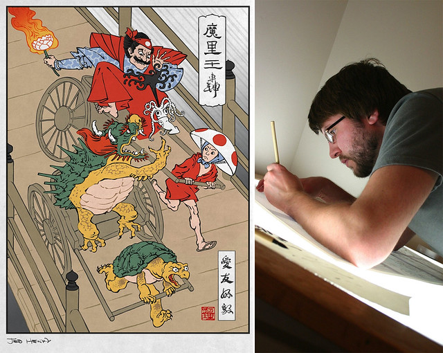 Ukiyo-e Heroes (left); Ukiyo-e Heroes illustrator Jed Henry (right). Photos courtesy of Jed Henry.