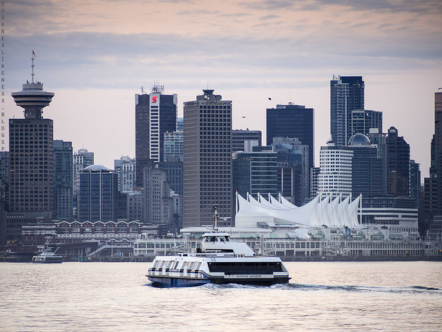 Vancouver SeaBus heading to Waterfront from Lonsdale Quay