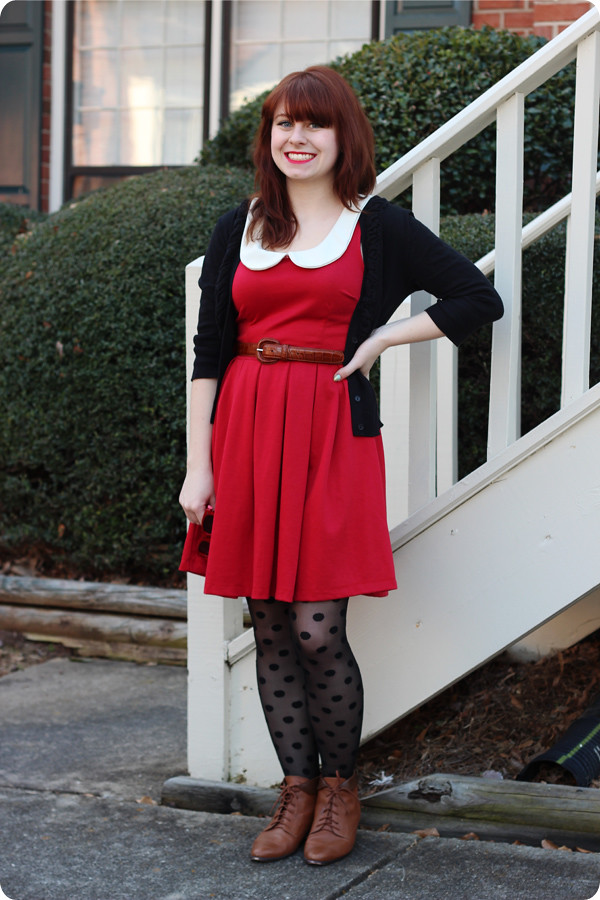 fc481255242d6 dress: modcloth | polka dot tights: kmart | leather ankle boots: thrifted |  cardigan: so… – kohl's | belt: ralph lauren – thrifted | sunglasses: kohl's