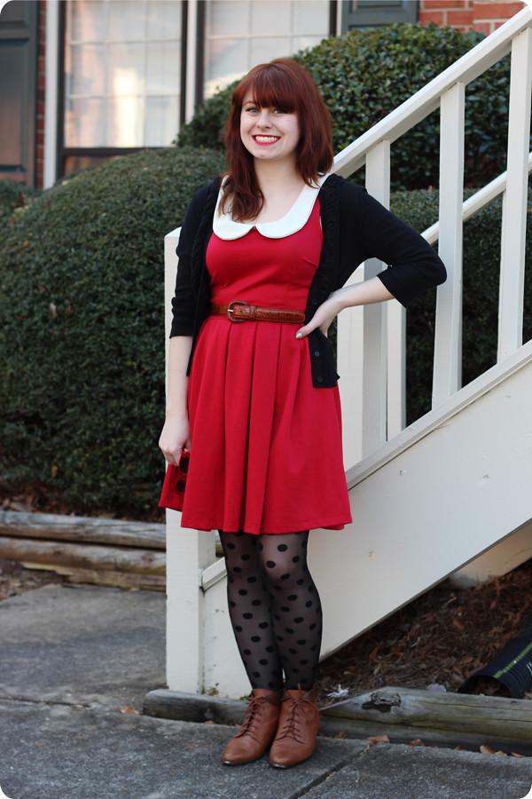 red dress polka dot tights amp brown vintage boots
